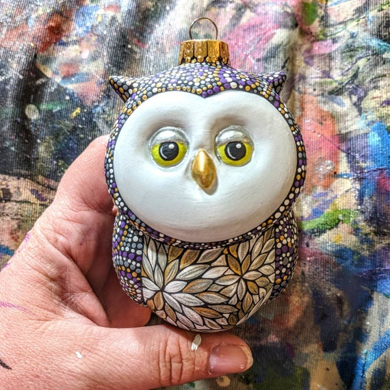 Barn Owl: Hand Painted Ceramic Owl Ornament