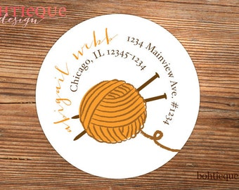 Knitting Needles and Yarn Personalized Return Address Label with Color Choices