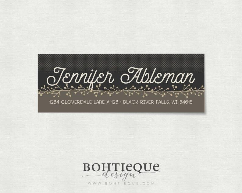 Jennifer Modern Custom Return Address Labels \u2013 Personalized Address Label \u2013 Floral Vine Label \u2013 Personalized Address \u2013 Bohtieque