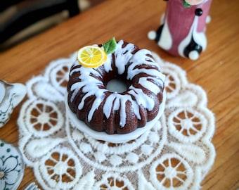 Dollhouse Miniatures 1:12 scale dark chocolate Bundt cake
