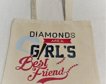 Diamonds Are A Girls Best Friend Tote|Sport Tote Bag|Best Friend Tote|Girls Sport Bag|Baseball Tote|Softball Tote