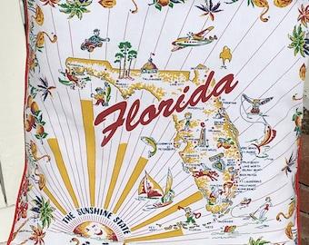 "Florida Pillow Cover, 18"" Retro Florida State Pillow Cover, Retro Sunshine State Pillow Cover, Florida Home Decor, Florida Souvenir"