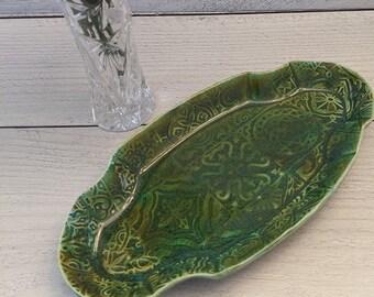 Handmade Textured  Green Serving Dish, Eyeglass Holder, Vanity Tray, Spoon Rest