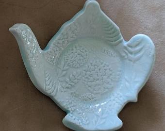 Handmade Ceramic Teabag Dish, Ring Dish, Votive Tray