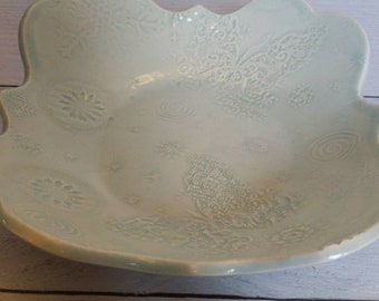 Winter butterfly and Snowflake   Bowl, Serving Bowl, Fruit Bowl