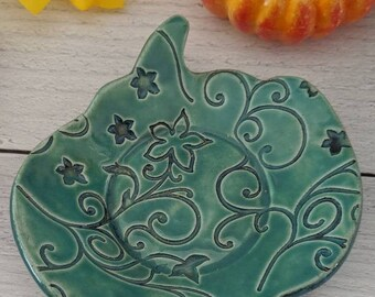 Green Handmade Ceramic Pumpkin Snack Dishes/Ring Holders/Change Dish/Cupcake Plate/Candle Dish