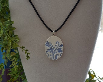 Blue Floral Handmade Ceramic Pendant