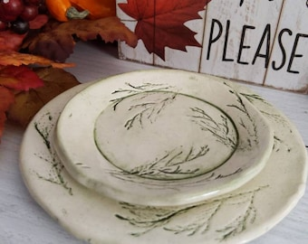 Pair of Evergreen Impressed Small Dishes, Snack Plates, Trinket Dishes