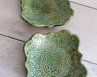 Pair of handmade trinket dishes, snack dishes, jewelry dishes