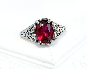 Ruby Heart Ring: Sterling Silver and Genuine Ruby - size 7.5, July Birthstone, raspberry red, vintage setting, antique, oval, gemstone