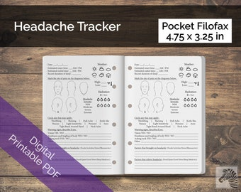 Pocket Filofax PRINTABLE Digital PDF Headache or Migraine Tracker Insert