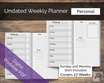 Personal PRINTABLE Perpetual Undated Weekly Planner TN Traveler's Notebook Insert