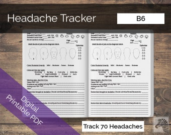 B6 PRINTABLE Digital PDF Headache or Migraine Tracker TN Insert Traveler's Notebook
