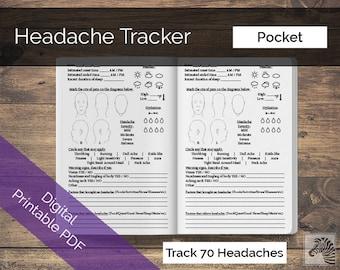 Pocket Field Notes PRINTABLE Digital PDF Headache or Migraine Tracker TN Insert Traveler's Notebook