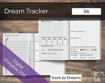 B6 PRINTABLE Digital PDF Dream Tracker TN Insert Traveler's Notebook Insert Basic Paper