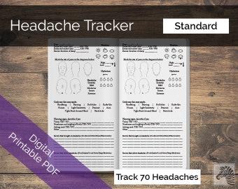 Standard PRINTABLE Digital PDF Headache or Migraine Tracker TN Insert Traveler's Notebook