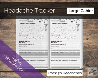 Large Cahier PRINTABLE Digital PDF Headache or Migraine Tracker TN Insert Traveler's Notebook
