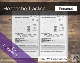 Personal PRINTABLE Digital PDF Headache or Migraine Tracker TN Insert Traveler's Notebook
