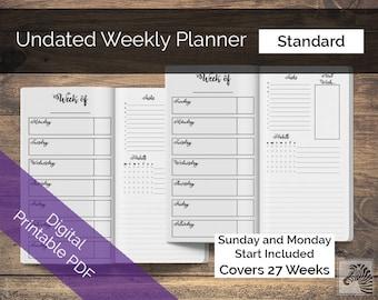 Standard PRINTABLE Digital PDF Perpetual Undated Weekly Planner TN Traveler's Notebook Insert