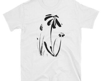Daisies Painted In Ink Minimalist Short-Sleeve Unisex T-Shirt