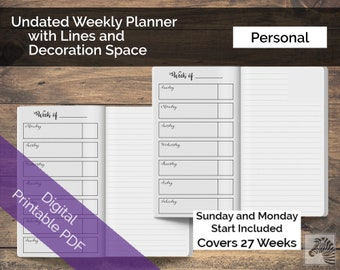 Personal PRINTABLE Perpetual Undated Weekly Planner With Lines & Decorative Space TN Traveler's Notebook Insert