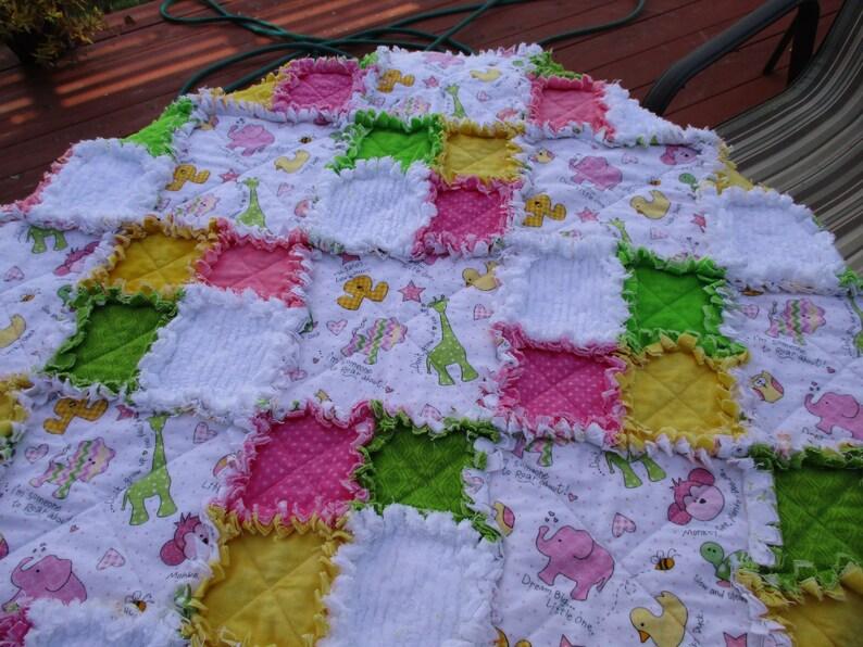Baby Girl Raq quilt  36 x 36  Flannel   SALE