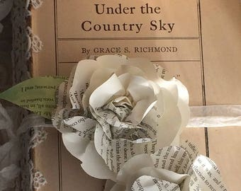SIX Jane Austen Book Page Roses with Clothespin Clip for DIY Garlands, Package Toppers, Weddings, Mothers Day, Birthday, Paper Flower Favors
