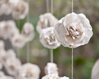 One Wedding Garland 10 ft Long Paper Flower Roses Beautiful Vintage Book Page Paper Roses Garland Photo Prop Backdrop for Wedding Decor