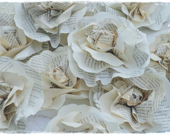 DIY Twenty Five 3.5 inch Paper Flower Roses from Vintage Book Pages For DIY Crafts Home Decor Wedding Decor Gift Wrap Toppers