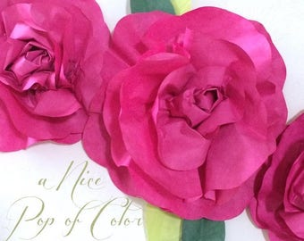 2 ft Spring Fuchsia Paper Flower Rose Garland Mini Swag of Hand Dyed Valentine Paper Flowers or - Birthday - Decor
