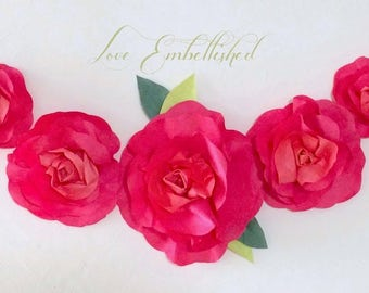 2 ft Spring Rosy Red Paper Flower Rose Garland Mini Swag of Hand Dyed Fresh Spring Paper Flowers for Easter - Mothers Day - Birthday - Decor