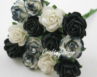 50 Mixed Black Tone and White Mini Mulberry Paper Flowers Baskets Scrapbooks Wedding Miniatures Faux Cupcake Cards Dolls Crafts Roses505/zR2