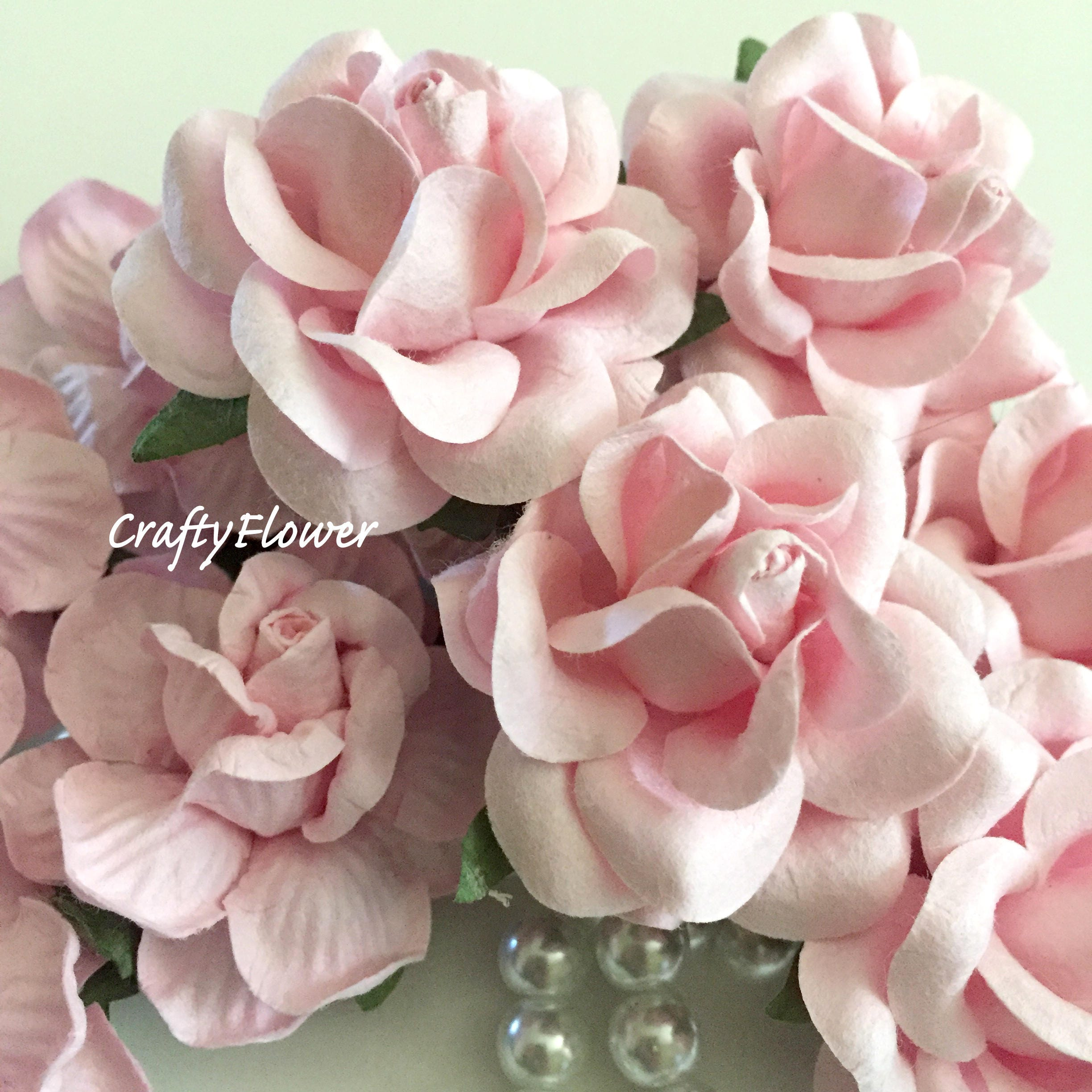 10 Soft Pink Mulberry Paper Flowers For Baskets Scrapbooks Etsy