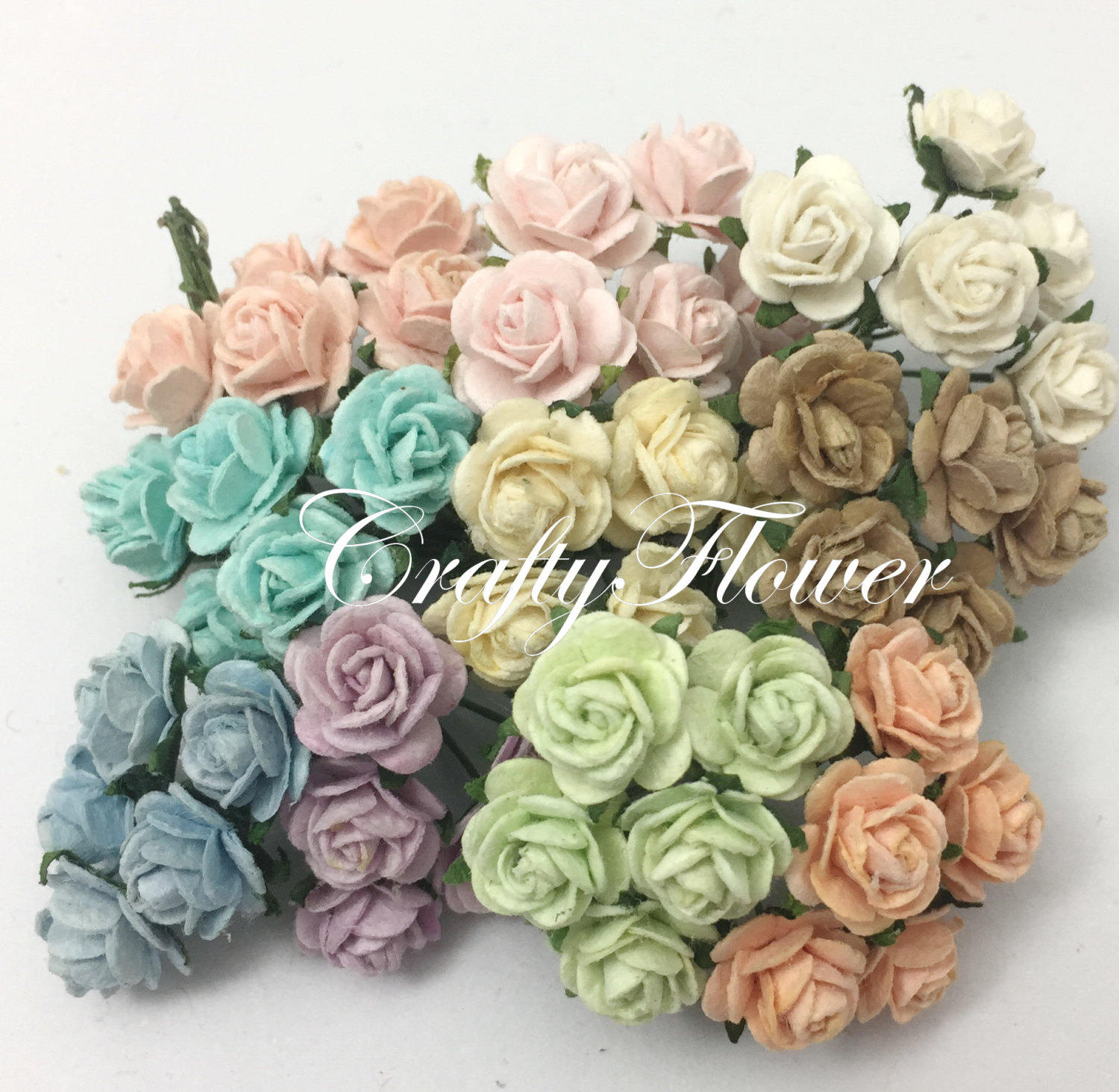 50 Mixed Soft Colors Mini Mulberry Paper Flowers Scarpbooking Etsy