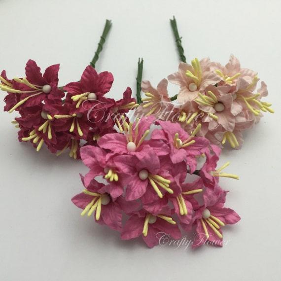 25 Mini 3 Roses Lys Mulberry Fleurs En Papier Pour Bricolage Faire