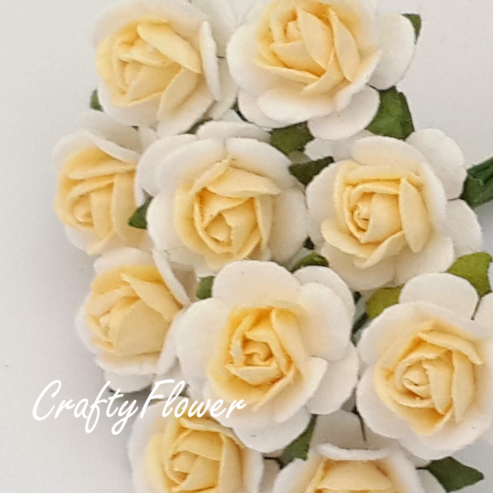 100 White With Soft Yellow Cream Mini Paper Flowers Baskets Etsy