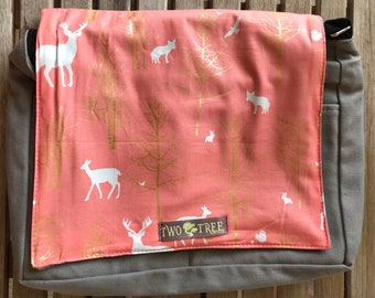 New Salmon and Gold Deer in the Forest MESSENGER Book Laptop Diaper BAG