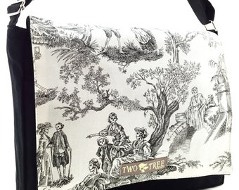 Black Day Of The Dead TOILE SKELETONS MESSENGER ipad Laptop Diaper bag
