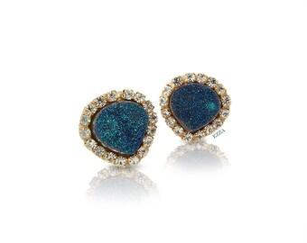 Titanium Druzy Stud Earrings | Blue Green Stud Earrings | Druzy Stud Earrings | Blue Green Crystal Earrings | Statement Stud Earrings | Ezza