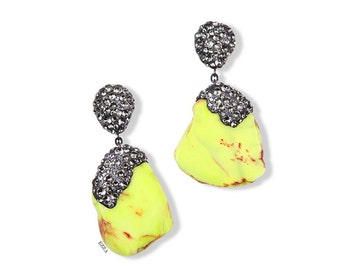 Yellow statement earrings | Large bright neon yellow earrings | Stone statement earrings | Yellow stone statement earrings  Crystal Earrings