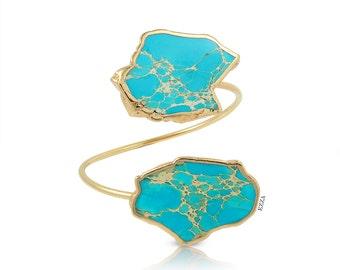 Turquoise Statement Cuff | Turquoise Cuff Bracelet | Bold Turquoise Statement Cuff | Bold Jewelry | Colorful Jewelry | Turquoise Wrap Bangle