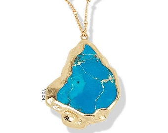Druzy Turquoise, Teal Druzy Necklace, Rough Raw Turquoise, Raw Druzy Necklace, Gold Drusy Necklace, Geode Necklace, Druzy Necklace