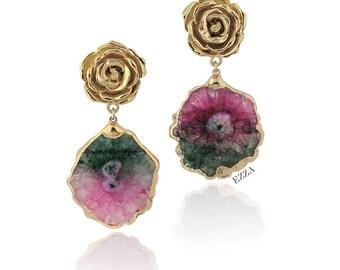Statement Earrings Stone color Fuchsia Violet dangle chandelier drop stone Swarovski crystal earrings