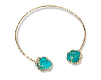 Coachella Necklace | Statement Choker Necklace | Gemstone Choker Necklace | Turquoise Stone Necklace | Bohemian Edgy Necklace | Gem choker