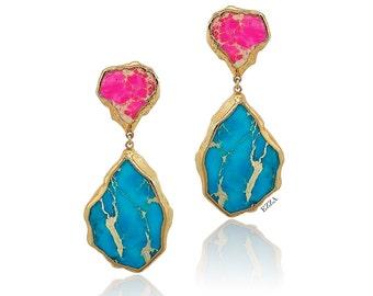 Statement Earrings | Gemstone Earrings | Large Turquoise Earrings | Colorful Pink Blue Earrings | 24k Gold Plated