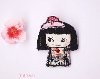 Embroidery doll brooch, Textile art brooch,Patchwork brooch, Embroidered accessory, Textile jewelry, Embroidery badge, Lapel pin