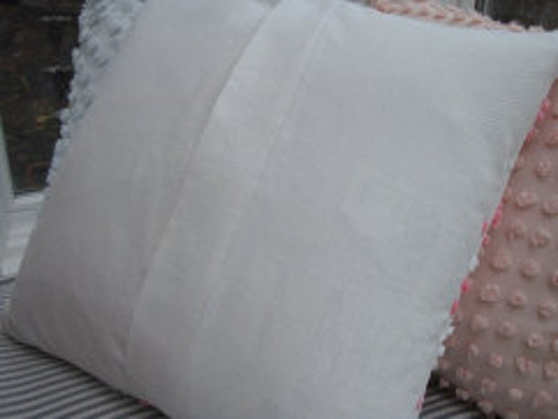 Pink White 20\u201dVintage Chenille Pillow CoverShabby ChicAmericananurseryBedroomgirls Room