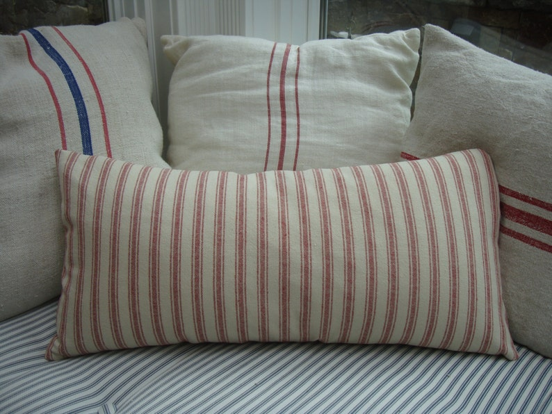 French Cottage Linen Ticking/Pillow Cover/Red and CReaM/Paris