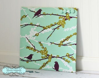 Wall-Mount Magnet Board 12inx12in No Frame - turquoise and plum birds fabric - bulletin board note board command center office organizer