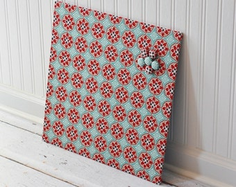 Wall Mount Magnet Board 16inx16in - Ready to Ship - Blue and Red Blossoms fabric
